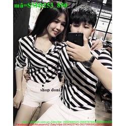 Sơ mi cặp đôi tình nhân sọc trắng đen SMD253