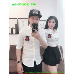Sơ mi cặp đôi tinh nhân trắng thiêu hoa dễ thương SMD242