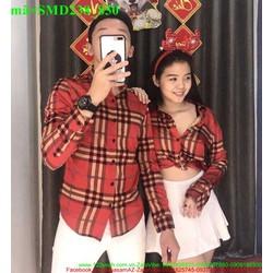 Sơ mi cặp đôi tình nhân đỏ phối sọc sành điệu SMD238