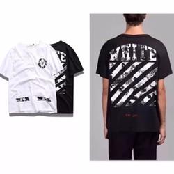 Áo WHITE [CUT OFF] - Áo Off-White - Tee Off White - Oversize sọc trắng