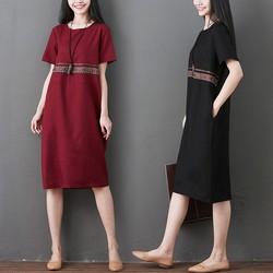 Đầm suông đơn giản phối sọc họa tiết  D1310