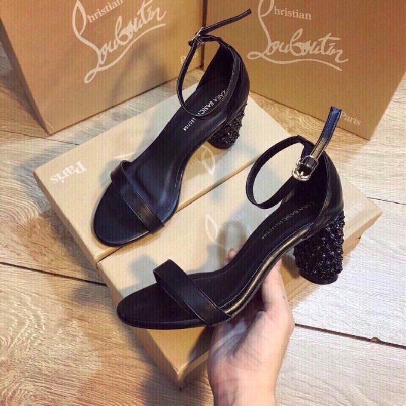 Giày sandal cao gót da mềm gót đinh 12