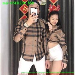 Sơ mi cặp đôi tình nhân phối sọc sành điệu SMD239