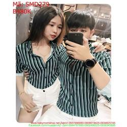Sét áo sơ mi cặp dài tay sọc dọc cá tính và thời trang SMD279
