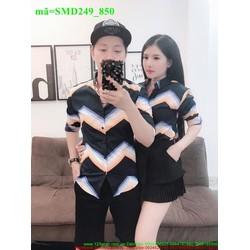 Sơ mi cặp đôi tình nhân sọc ngang sành điệu SMD249