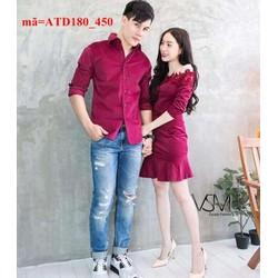 Set áo váy cặp đôi tình nhân trễ vai đáng iu ATD180