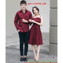 Set áo váy tình nhân tay dài đỏ hai dây nổi bật ATD190