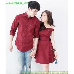 Set áo váy tình nhân trễ vai xinh yêu thương ATD158