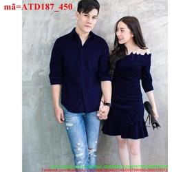 Set áo váy tình nhân xanh đen cực dễ thương ATD187