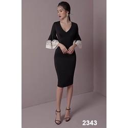 Đầm body dài tay đính bông 2343