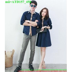 Set áo váy cặp đôi viền sọc yêu thương ATD157
