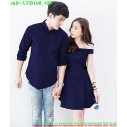 Set áo váy cặp tình nhân trễ vai xinh ATD160