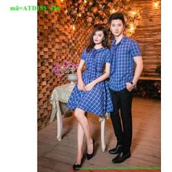 Set áo váy cặp tình nhân ngắn tay sọc caro xanh trắng ATD185