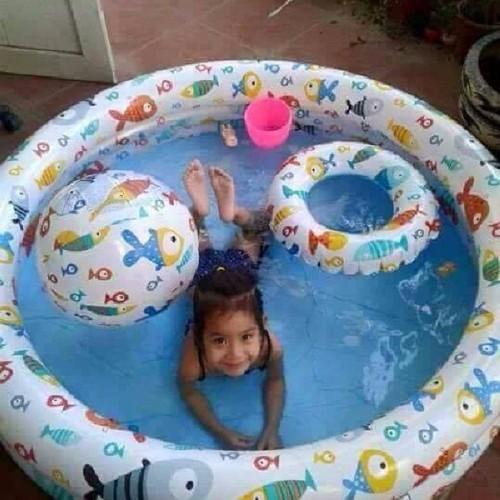 Free ship bể bơi 3 tầng tặng kèm phao bơi và bóng