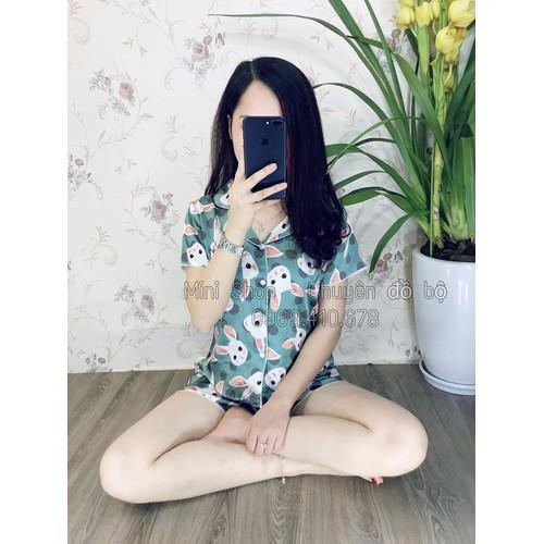 Đồ bộ pijama tay ngắn quần ngắn lụa họa tiết cao cấp S1236