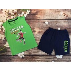 Đồ bộ bé trai họa tiết soccer màu xanh lá