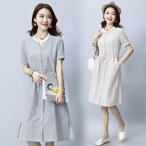 Đầm suông nữ sọc ngắn tay D3024