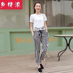 Set áo in chữ và quần sọc cá tính size M,L,XL,2XL
