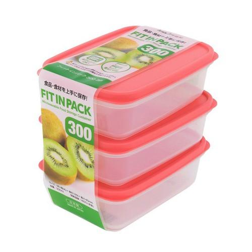 Set 3 hộp nhựa đựng thực phẩm Fitin Pack nắp dẻo 300ml