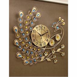 Đồng hồ trang trí treo tường chim công đuôi dài