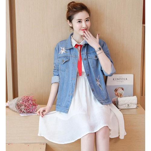 Áo Khoác Jeans Nữ Thêu Hoa_AKN163