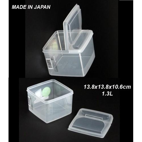 2 hộp nhựa đựng thức ăn nắp 2 cánh mở đứng 1,3 lít Nhật. H210
