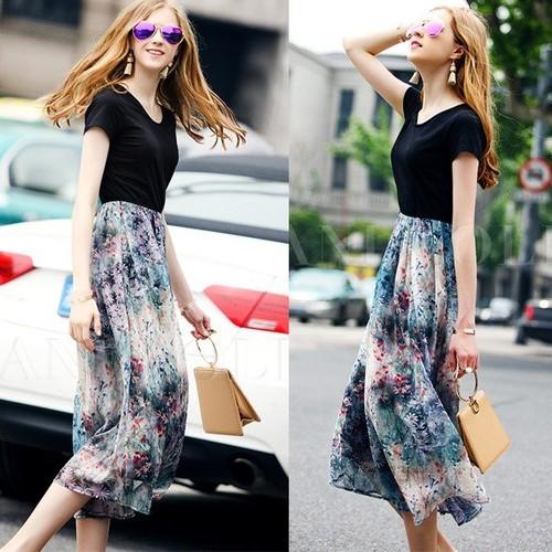 Đầm xòe dài chân váy voan hoa size M,L,XL