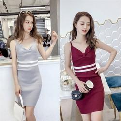 Đầm Len Dệt Kim Hai Dây
