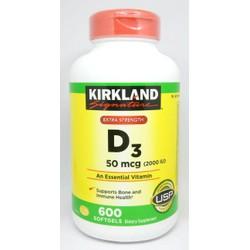 Kirkland Vitamin D3 2000 IU 600 viên Mỹ D3 600 viên D3 2000IU