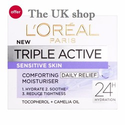 Kem giữ ẩm 24h, làm dịu dành cho da nhạy cảm LOreal Triple Active 50ml