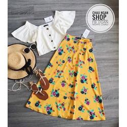 Set áo bèo nút chân váy hoa