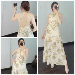 Đầm maxi hở lưng hoa mùa hè cao cấp