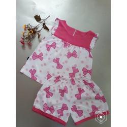 Đồ bộ lanh bé gái hình nơ màu hồng size đại
