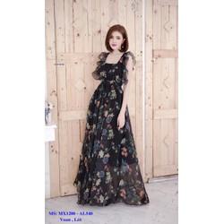 Đầm Maxi Hai Dây Bèo Hoa Sang Trọng