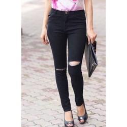 Quần Jean Skinny đen tuyền rách gối cực đẹp