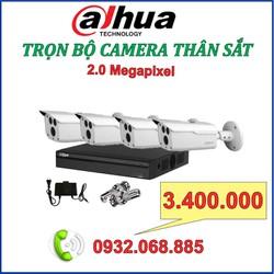 Bộ 4 camera THÂN sắt DAHUA 2.0 m,p