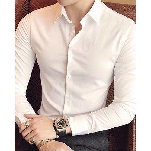 Áo sơ mi nam trơn màu trắng vải cotton mềm không nhăn