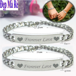 Lắc tay cặp đôi inox Đẹp Mà Rẻ màu bạc khắc chữ Forever Love