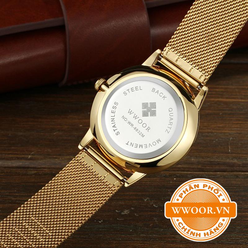 Đồng hồ nam WWOOR 8832 dây vàng mặt đen 3