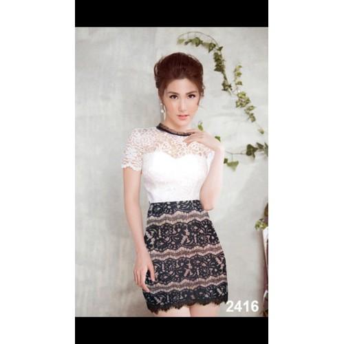 Đầm body ren trắng đen dễ thương 2416