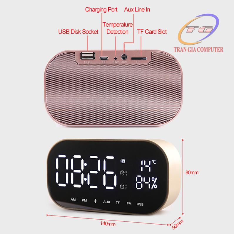 Loa bluetooth nghe đài FM kiêm đồng hồ báo thức Yayusi S2 9
