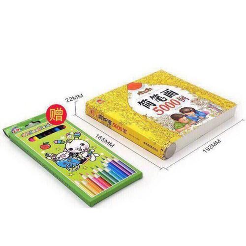 Tập tô 5000 hình tặng kèm 12 bút chì màu