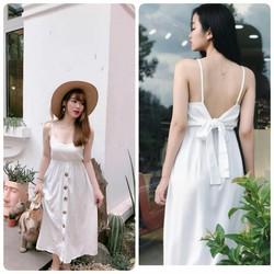 Đầm maxi trắng cột nơ sau cực xinh
