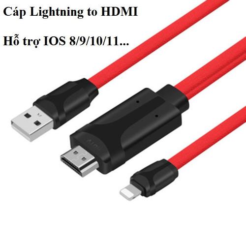 Cáp HDMI cho iPhone  5,5s, 6,6plus, 7,8, iPad kết nối Tivi, máy chiếu