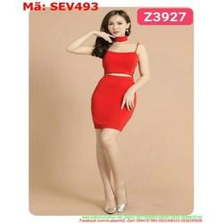 Sét áo 2 dây và chân váy bút chì màu đỏ sang trọng SEV493