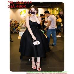 Đầm xòe dự tiệc 2 dây phom dài màu đen cá tính sang trọng DXV514
