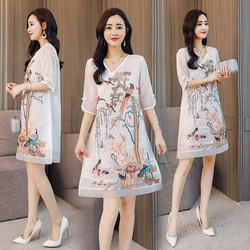 Đầm suông in họa tiết - hàng thiết kế