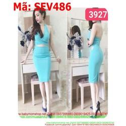 Sét áo croptop xẻ cổ V hở lưng và chân váy bút chì xinh đẹp SEV486