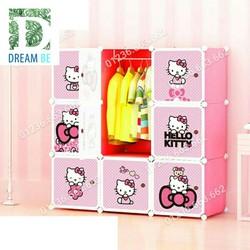 Tủ nhựa ghép  9 ô hình hello kitty màu hồng