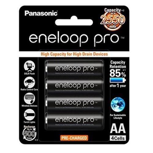 Pin sạc AA Eneloop Pro BK-3HCCE-4BT, HR6 2550mAh - Vỉ 4 viên